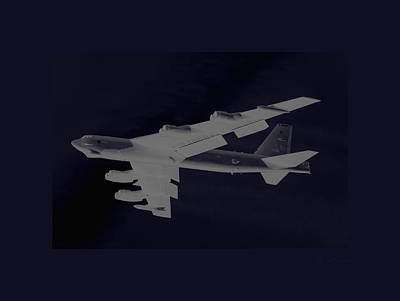 B-52 Mixed Media - Boeing B-52 Stratofortress Taking Off On A Dangerous Night Mission Tinker Afb Oklahoma With Border by L Brown