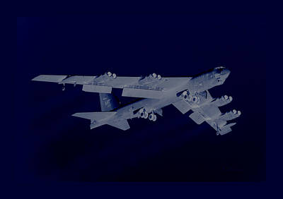 B-52 Mixed Media - Boeing B-52 Stratofortress Taking Off On A Dangerous Night Mission With Matching Border by L Brown