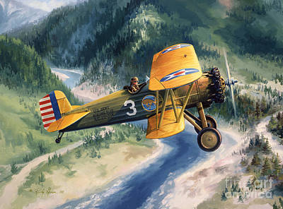 Military Aviation Art Painting - Boeing Country by Randy Green