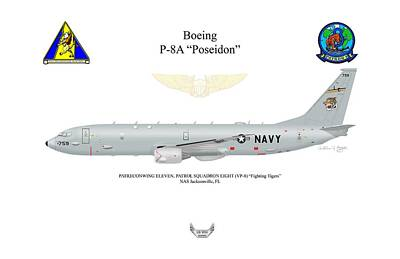 Digital Art - Boeing P-8a Vp-8 by Arthur Eggers