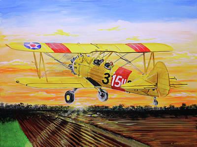Painting - Boeing Stearman 75 Kaydet by Karl Wagner