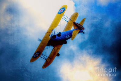 Bi Plane Digital Art - Boeing Stearman Pt-17 Kaydet  by Nigel Bangert