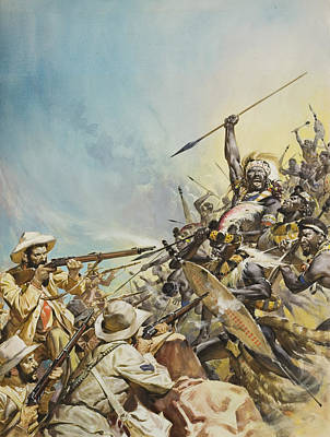 Barbarian Painting - Boers Fighting Natives by James Edwin McConnell