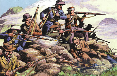Boers Of The Transvaal Fighting At Majuba Hill During The First Boer War Art Print by Pat Nicolle
