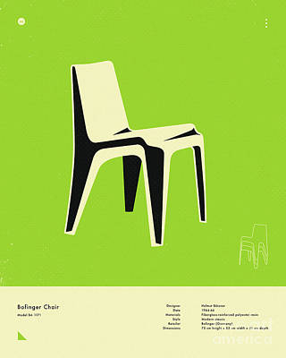 Infographic Digital Art - Bofinger Chair 1966 by Jazzberry Blue