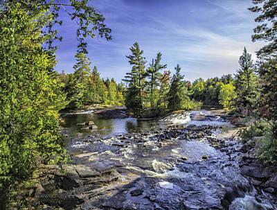 Photograph - Bog River Falls Panorama Abstract 02 by Jim Dollar