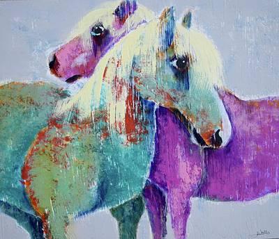 Wall Art - Mixed Media - Bog Village Horses by Jen Walls