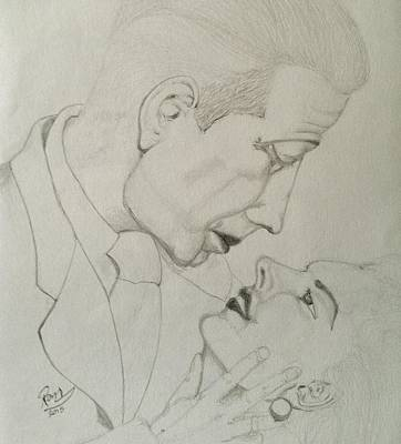 Drawing - Bogart And Bacall by Rand Swift