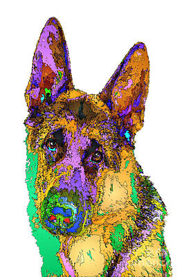 Digital Art - Bogart The Shepherd. Pet Series by Rafael Salazar