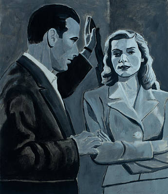 On Paper Painting - Bogie And Bacall by Frank Strasser