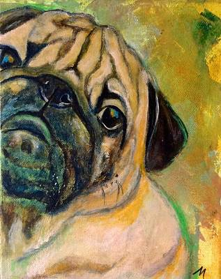 Dog Painting - Bogie by Mary Papageorgiou