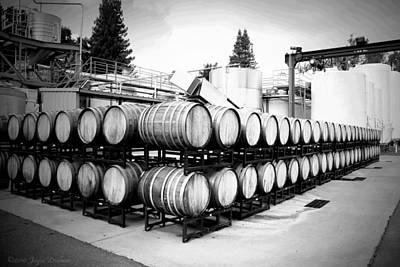 Photograph - Bogle Winery By The Barrel  B And W by Joyce Dickens