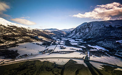 Photograph - Bognelva River And Village At The Langfjorden Aerial Norway by Adam Rainoff