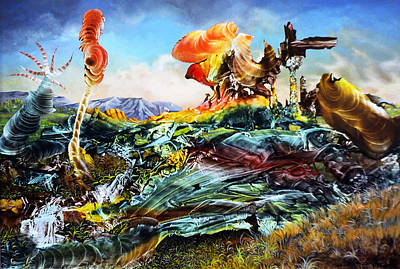 Decalcomania Painting - Bogomil Landscape by Otto Rapp
