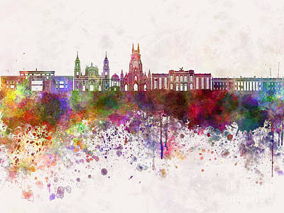 Bogota Skyline In Watercolor Background V2 Print by Pablo Romero