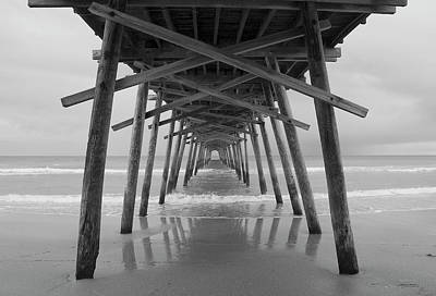 Photograph - Bogue Inlet Pier Bw by Debby Richards