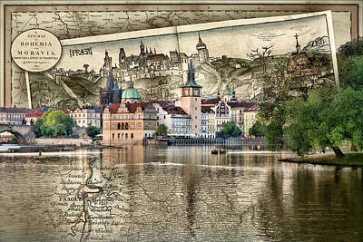 Photograph - Bohemia Moravia Prague Map by Sharon Popek