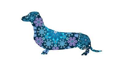 Bohemian Blue Dachshund Art Print by Lisa Crisafi