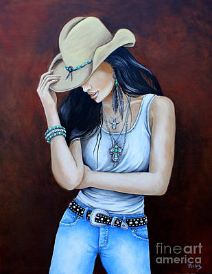 All Cowboy Painting - Bohemian Cowgirl by Pechez Sepehri