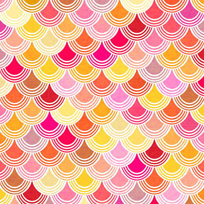Digital Art - Bohemian Fish Scale Pattern In Golds And Pinks by Mark Tisdale