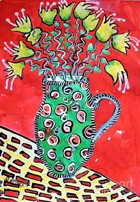 Bohemian Flowers In Red Art Print by Caroline Street