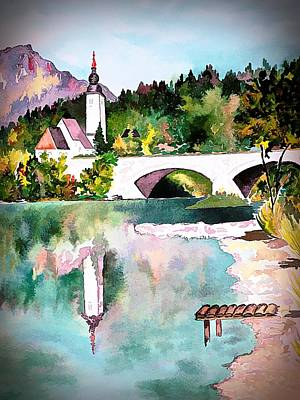 Digital Art - Bohinj - Church Of St John, Slovenia by Joseph Hendrix