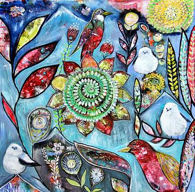Wall Art - Painting - Boho Birds And Blooms by Carol Iyer