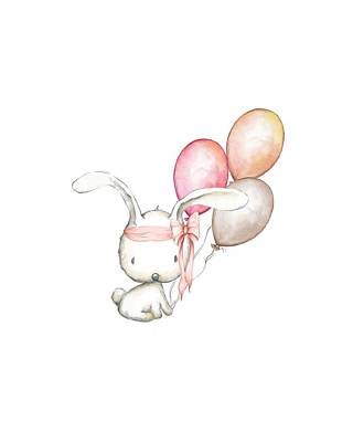 Rabbit Digital Art - Boho Bunny With Balloons by Pink Forest Cafe