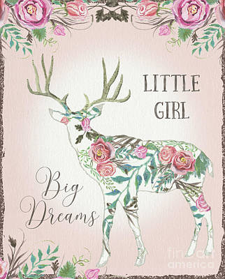 Painting - Boho Deer Silhouette Rose Floral Little Girl Big Dreams by Audrey Jeanne Roberts