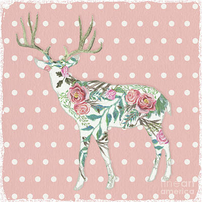 Painting - Boho Deer Silhouette Rose Floral Polka Dot by Audrey Jeanne Roberts