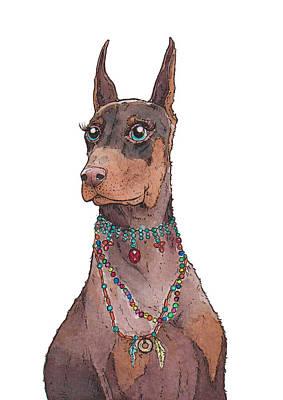 Doberman Pinscher Puppy Painting - Boho Doberman by Katrina Davis
