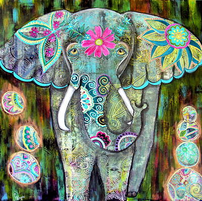 Wall Art - Painting - Boho Elephant by Carol Iyer