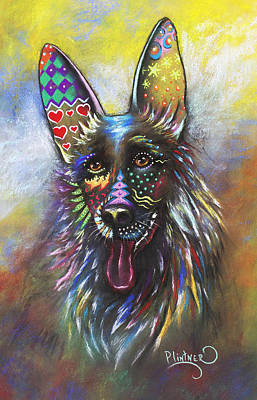 Art Print featuring the mixed media German Shepherd by Patricia Lintner
