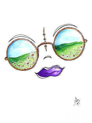 Boho Gypsy Daisy Field Sunglasses Reflection Design From The Aroon Melane 2014 Collection By Madart Art Print