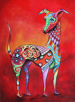 Greyhounds Mixed Media - Italian Greyhound  by Patricia Lintner
