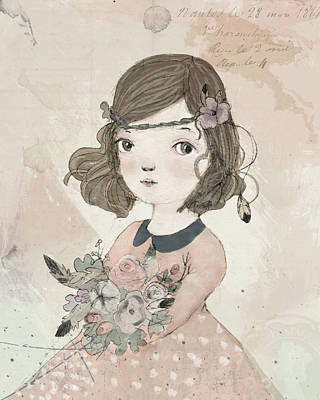 Girls Digital Art - Boho Little Girl by Paola Zakimi