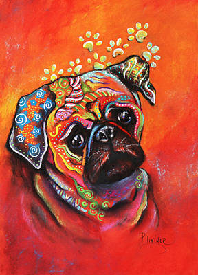 Art Print featuring the mixed media Pug by Patricia Lintner