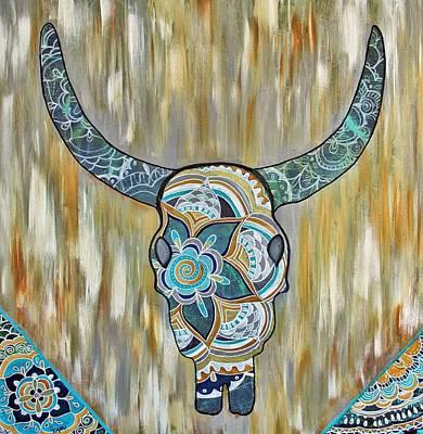 Wall Art - Painting - Boho Skeletal Cow by Carol Iyer