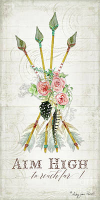 Barn Wood Painting - Boho Western Arrows N Feathers W Wood Macrame Feathers And Roses Aim High by Audrey Jeanne Roberts