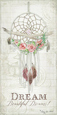 Painting - Boho Western Dream Catcher W Wood Macrame Feathers And Roses Dream Beautiful Dreams by Audrey Jeanne Roberts