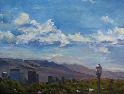 Painting - Boise Downtown Skyline 2013 by Les Herman