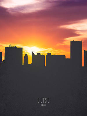 Boise Idaho Sunset Skyline 01 Art Print