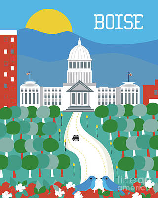 Capitol Building Digital Art - Boise Idaho Vertical Skyline by Karen Young