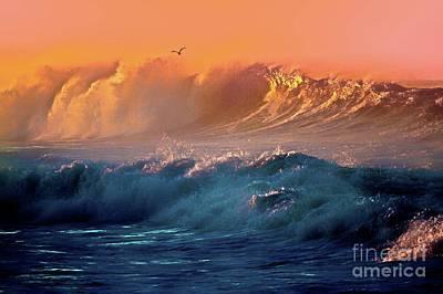 Boisterous Seas And Gull Art Print