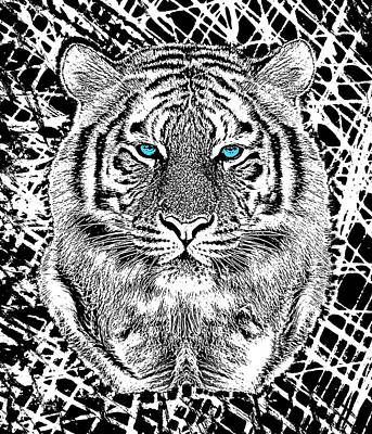 Coach Party Digital Art - Bold Black And White Blue Eyes Tiger by Garaga Designs