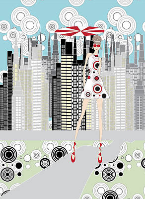 Circle Digital Art - Bold City Girl - November by Jodi Doughty