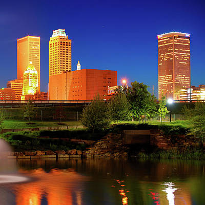 Tulsa Photograph - Bold Colors Of Tulsa Oklahoma Skyline by Gregory Ballos