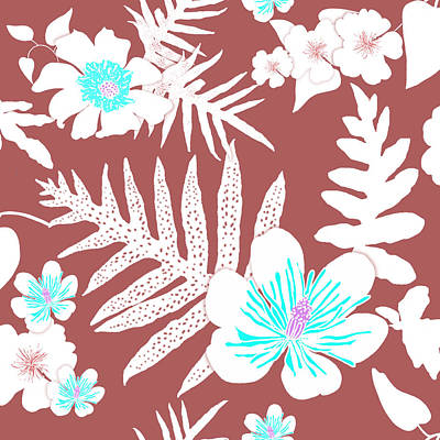 Digital Art - Bold Fern Floral - Dusty Cedar by Karen Dyson