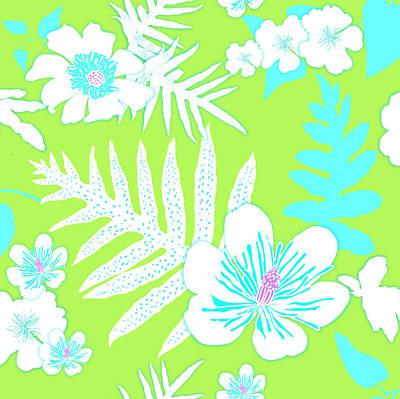 Digital Art - Bold Fern Floral - Lime by Karen Dyson