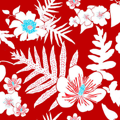 Digital Art - Bold Fern Floral - Red by Karen Dyson